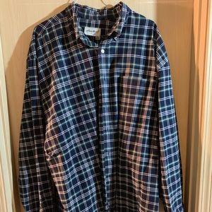 Eddie Bauer black and gray plaid dress shirt